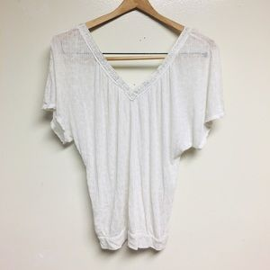 Free People Sheer White Silver Embroidery Shirt